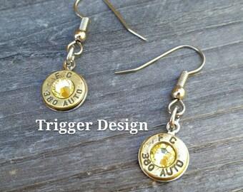 Simple 380 Caliber Dangle Bullet  Casing Earrings- Yellow