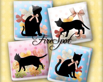 Silhouette Animal cat - Digital Collage Sheet 1.5inch,1 inch,25 mm,20 mm Square Glass Pendants, Bottlecaps,Scrapbooking