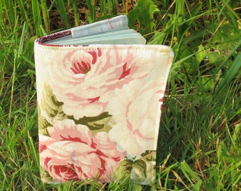 Blowsy roses.  A passport sleeve inspired by a country garden.  Passport cover.