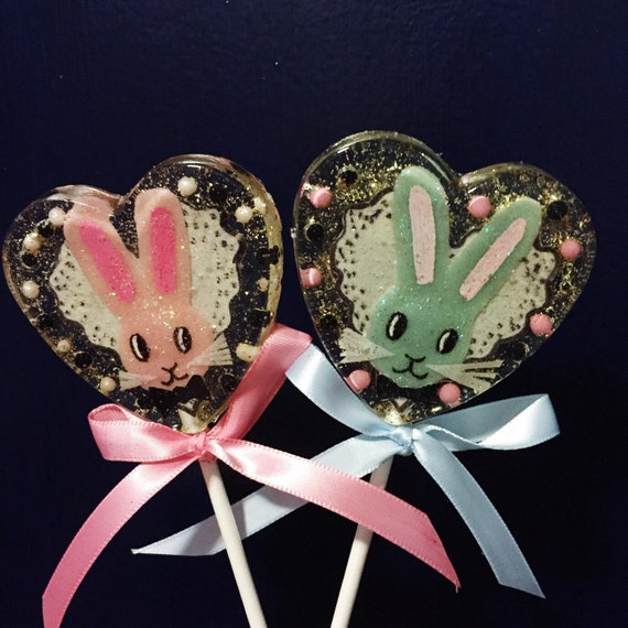 3 Bow Tie Bunny Easter Peaches And Cream Lollipops