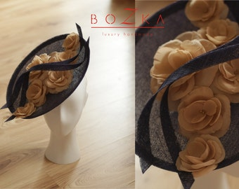 Navy blue saucer hat with hand made silk beige flowers, party hat