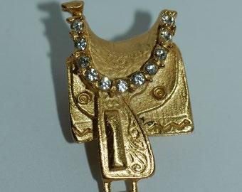 "Gold Saddle Button w/ Rhinestones 1 1/4"" (32mm)"