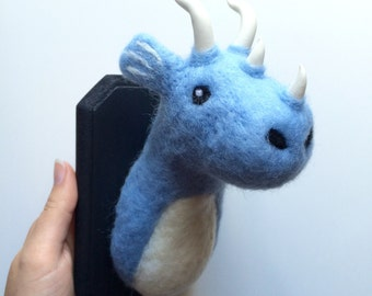 Handmade Needle Felted Dragon head Trophy medium faux taxidermy made to order