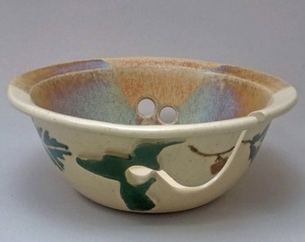 Yarn  Bowl Green Hummingbird Stoneware Pottery by Stegalls Pottery