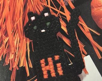 Black Cat Magnet in Plastic Canvas