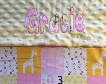 """Little Cutie Block -Pink-Minky Dot Blanket with Appliqued Name 30""""x36"""""""