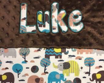 """Brown and Teal Elephants Minky Blanket with Appliqued Name 30""""x36"""""""