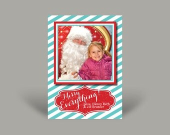 PRINTED Photo Christmas Invitation Card - Family Christmas Greetings - Merry Everything [stripes]