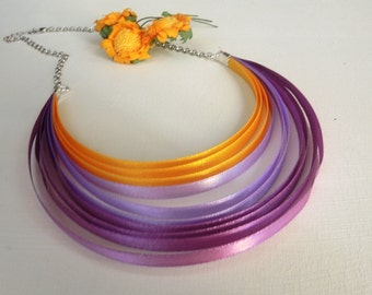 Rainbow satin necklace in purple and yellow