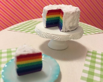 Miniature Roy G. Biv Iced Rainbow Cake (playscale 1:6 scale diorama play mini for fashion/teen dolls)