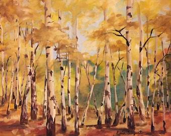 Birch Tree Print of Original Painting