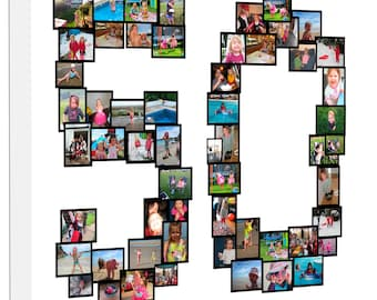 Photo Collage Canvas Number Photo Personalised Collage