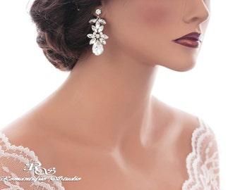 Crystal bridal earrings teardrop marquise crystal earrings rhinestone wedding earrings bridesmaid earrings wedding jewelry accessory 1337
