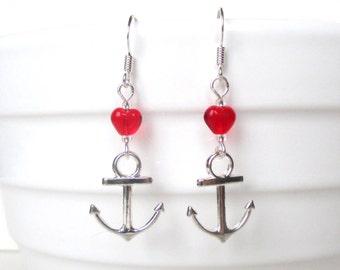 Anchor earrings - Rockabilly jewellery - Cute anchor earrings - Kitsch red heart earrings - Valentine earrings - Stocking filler - UK