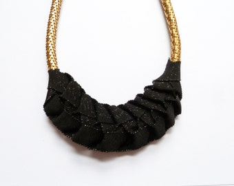 Necklace Zelig black glittery and scales