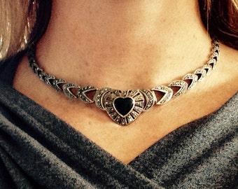 Art Deco Marcasite Black Onyx Heart Sterling Silver Choker Necklace