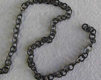 "One Foot Brass Chain, Matte Black Color, Soldered Chain, 1/4"" Chain"