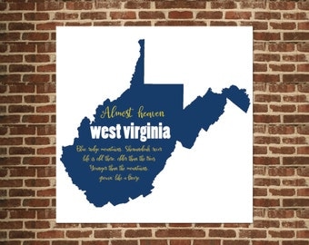 West Virginia Almost Heaven State Map - Country Roads Map