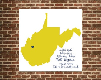 West Virginia Country Roads State Map - WV Map Print