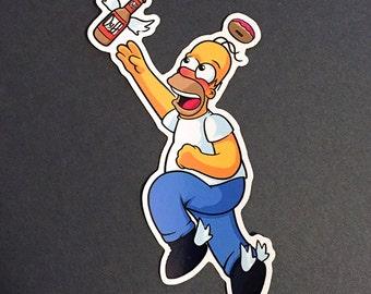 Homer Simpson Vinyl Die Cut Sticker - Homer Sticker | Simpsons Sticker | Funny Sticker for kids