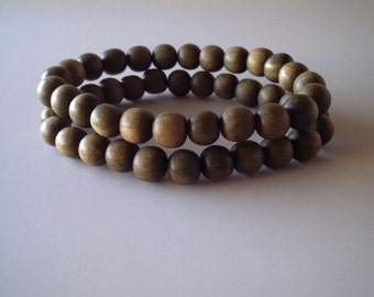 Green Wooden Beaded Bracelet Set