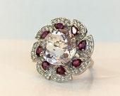 Pink Amethyst Ring Garnet White Topaz Sterling Silver Band 9 CT Genuine Gemstone Anniversary Statement Ring Vintage Estate Jewelry Size 6