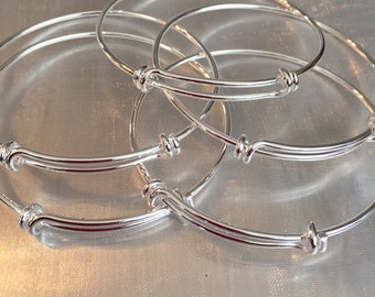 Bangle bracelets silver plated bracelets set of 5