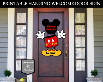 INSTANT DOWNLOAD Printable Classic Mouse Hanging Welcome Door Sign / Come Inside, It's Fun Inside / Classic Mouse Collection / Item #1574