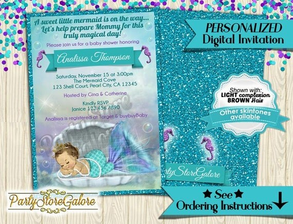 mermaid baby shower invitations little mermaid under the sea ocean
