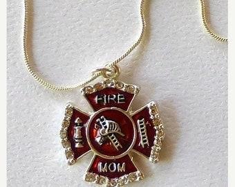ON SALE Firefighter Mom Crystal Shield Charm Necklace SKU: Jw107