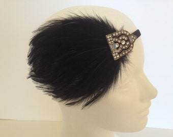 Rhinestone Art Deco Gold headband, fascinator, gold flapper vintage flapper headband, 1920s gatsby headband great gatsby dress, flapper