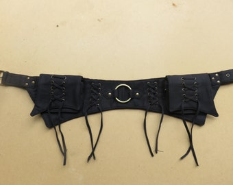 Steampunk Utility belt psytrance hippie style in black cotton canvas - Lace Ring Model