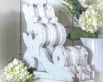 Chippy White Wooden Corbels~Architectural Salvage~Chunky~Pair~Antique~Mantel~Mantle~Bracket