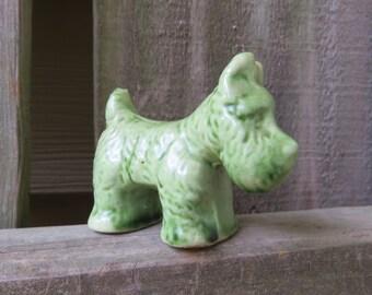 Miniature Ceramic Scottie Dog- Vintage Green Scottie Dog