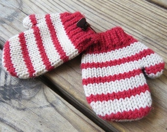 Vintage Little Red and White Striped Mittens- Christmas Ornament or Holiday Decor 3 inches x 2 1/2 inches