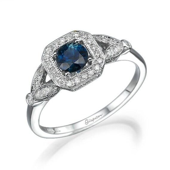 blue sapphire engagement ring sapphire ring unique