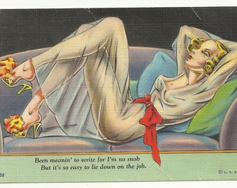 Very pretty reclining lady in see-through negligee  postcard 1943
