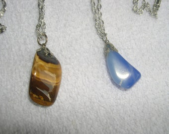 set of Two Polished Rock Necklaces
