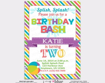 Pool Party Birthday Bash Girly Invitation Beach Ball 1st First Birthday Colorful Striped Colorful- Printable Digital File