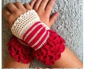 Hand warmers,Handmade,Hand knitted,fingerless gloves, romantic,gift,beige,original,designer,crochet,knitwear,knitted