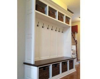 SALE! Mudroom Lockers Bench Storage Furniture Cubbies Coat Rack Hall Tree