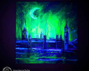 Art Acrylic Painting UV Glow in the dark Modern Contemporary Wall Art London Painting Fluorescent canvas textured painting large Landscape