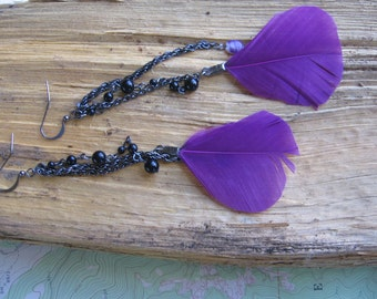 Gunmetal chains with purple feathers and beads