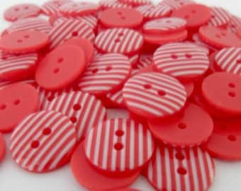 10 x 15mm Red Stripe Buttons