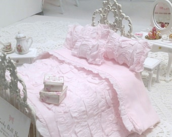 Pink Cotton Ruffled Shabby Cottage Chic 1:12 Dollhouse Bedding Four Piece Bedspread Set  Ruffled Doll Bed Diorama Room Boxes WendyDollHouse