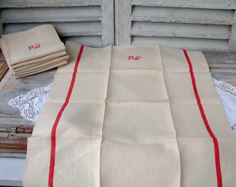 One French vintage linen grain sack tea towel with red stripe and monogram. Rustic french country kitchen.  Never used.  Monogram RJ