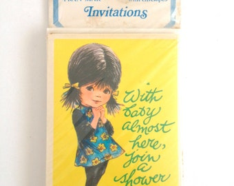 Vintage Big Eye Girl Baby Shower Invitations Retro New Mom Party Invites 1970s