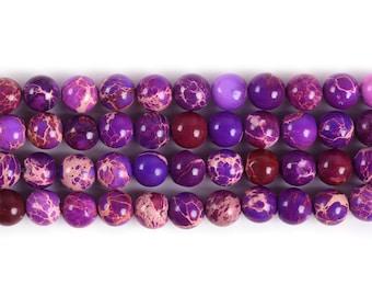 "6MM244 6mm Purple sea sediment jasper round ball loose gemstone beads 16"""