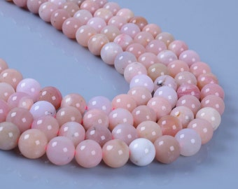 "8MM053 8mm Peruvian Pink Opal round ball loose gemstone beads 16"""