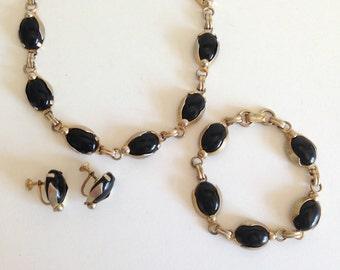 Black Bead Vintage Necklace, Bracelet & Earring Set